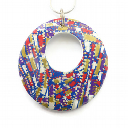 Hand Painted Round Wooden Pendant Necklace, Unique Jewellery