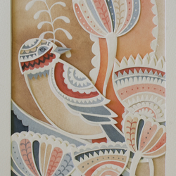 "Mothers Day Gift-Wall Art-Paper cut, Watercolour ""Sunset Bird"" Artwork,"