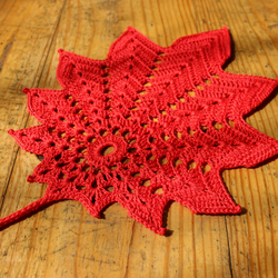 Leaf shaped Autumn doily- Red