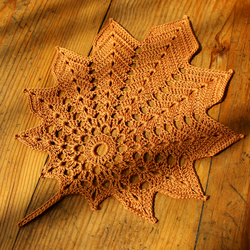 Leaf shaped Autumn doily- Golden Brown