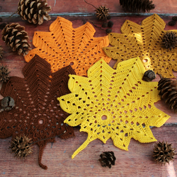 Leaf shaped Autumn doily- Yellow