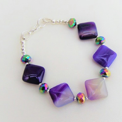 """Passionately Purple"" Banded Agate  and Crystal Bracelet."