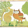 Upcycled Hutchins Rabbit and Owl Postcard, One-Of-A-Kind (215)