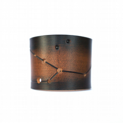 Taurus the bull star map constellation leather cuff