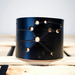 Mens Black Leather Leo Constellation Cuff
