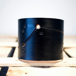 Mens Black Leather Aries Constellation Cuff