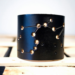 Mens Black Leather Aquarius Constellation Cuff