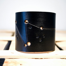 Mens Black Leather Capricorn Constellation Cuff