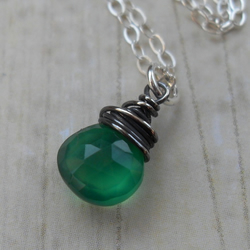 Green Onyx ~ Pendant ~ oxidized sterling silver