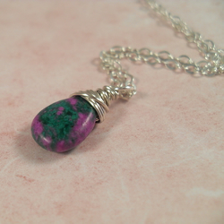 Reserved for Lynsey - Ruby Zoisite ~ pendant ~ sterling silver