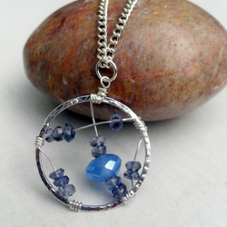 Wire wrapped pendant - with Iolite and blue Chalcedony