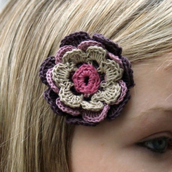 Handmade purple flower (hairpin) from linen