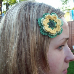 Handmade green and yellow flower (hairpin) from linen