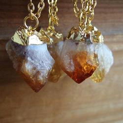 Gold Dipped Raw Citrine Point Necklace