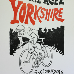 Yorkshire Grand Depart Tour de France inspired 'en danseuse blanc' A3 Bike print