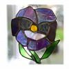 Pansy Suncatcher Stained Glass Purple Flower 007