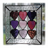 9 of Hearts Suncatcher Stained Glass Framed