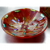 Fused Glass Bowl Round 12.5cm Red Gold Dichroic 016