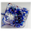 Fused Glass Dish Blue Rustic Frit Dichroic 8.5 cm