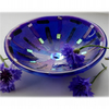 Fused Glass Bowl Round 13cm Blue Dichroic 032