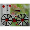 Bicycle Suncatcher  Red Stained Glass Handmade 021