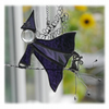 Halloween Witch on Broomstick Suncatcher Stained Glass 042 044 Purple