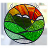 Sunset Mountains Stained Glass Suncatcher Handmade 001