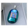 Dichroic Glass Pendant 105 Aqua Abstract shimmer with silver plated chain