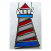 Lighthouse Suncatcher Stained Glass Handmade Red 001