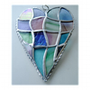 Patchwork Heart Suncatcher Stained Glass Handmade Pastel 041