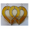 Entwined Heart Suncatcher Stained Glass Golden Wedding 016