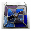Jigsaw Suncatcher Stained Glass Handmade Blue Purple Abstract