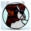 Boxer Dog Suncatcher Stained Glass Brown 011