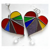 Rainbow Heart Rainbow Hanging Crystal Stained Glass Suncatcher