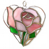 Pink Rose Heart Suncatcher Stained Glass 025