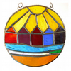 Beach Hut Ring Stained Glass Handmade Sunshine 008