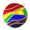 Rainbow Waves Stained Glass Suncatcher 009