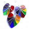 Rainbow Heart Rainbow Embedded Crystal Stained Glass Suncatcher