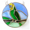 RESERVED Budgerigar Ring Stained Glass Suncatcher Budgie Green