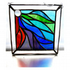 Ribbons Stained Glass Suncatcher Handmade 007 Bordered