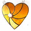 RESERVED 6inch Golden Swirl Heart Stained Glass Suncatcher 001 Gold Wedding