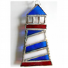 Lighthouse Suncatcher Stained Glass Handmade Blue 005