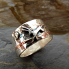 Moon and Hare Silver and Copper Ring