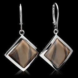 Diamond Cappuccino Unique Striped Flint Square Drop Leverback Earrings Handmade
