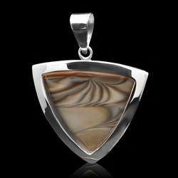 Unique Cappuccino Striped Flint Triangle Pendant  Sterling Silver Handmade