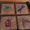 Handmade Embroidered Hessian Bugs Tea & Coffee coasters set of 4, quirky unusual