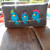 Punky birds embroidered tissue holder, made from felt trimmed with spotty ribbon