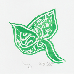 Green Abstract Bird Linocut