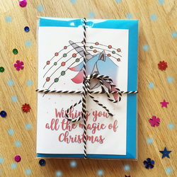 Unicorn Magical Christmas Card pack of 6 Christmas Cards