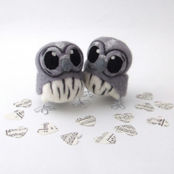 Grey Owl Wedding Cake Topper
